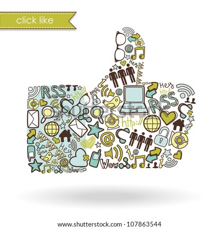 Like sign made with social media icons - stock vector