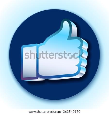 Like symbol on blue background - stock vector