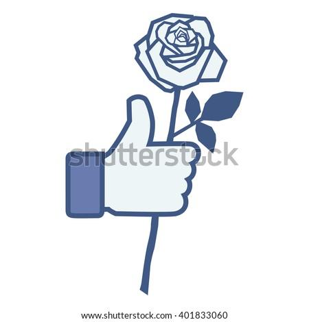 Like/Thumbs up/Hand hold rose. Like Icon. Like Icon Vector. Like Icon JPEG. Like Icon Object. Like Icon Picture. Like Icon Image. Like Icon Graphic. Like Icon Art. Like Icon JPG. Like Icon EPS - stock vector