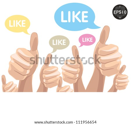 Like/Thumbs Up symbol hand drawn, vector Eps10 illustration. - stock vector