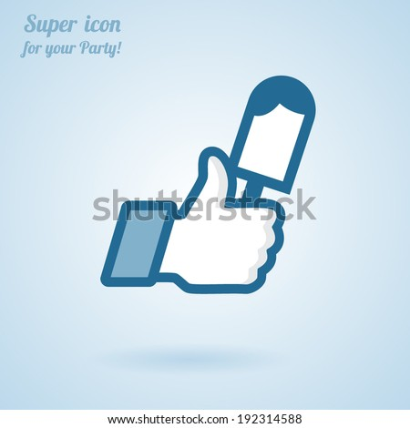 Like/Thumbs Up symbol icon with ice cream, vector Eps 10 illustration. Icon for Party - stock vector