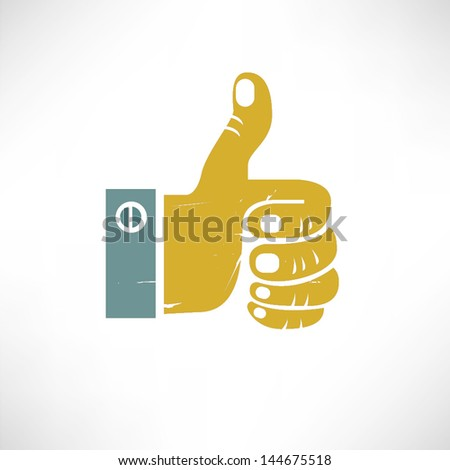 like, thump up in vintage style - stock vector