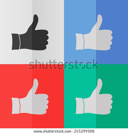 Like vector icon. Effect of folded paper. Colored (red, blue, green) illustrations. Flat design - stock vector