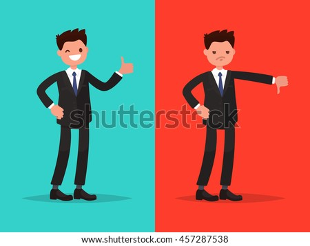 Likes and dislikes. Good and bad. Businessman showing gesture of approval and disapproval - stock vector