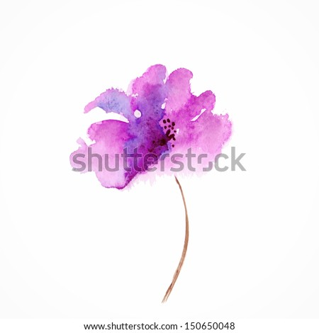 Lilac flower. Watercolor floral illustration. Floral decorative element. Vector floral background. - stock vector
