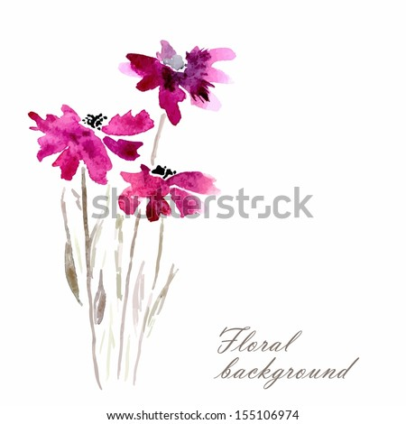 Lilac flowers. Watercolor floral illustration. Floral bouquet. Vector floral background. Invitation. Birthday card. - stock vector