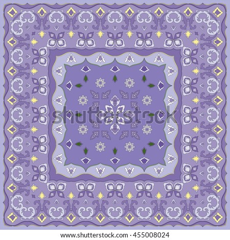 Lilac handkerchief with delicate blue ornaments. Textile pattern, vector illustration. - stock vector