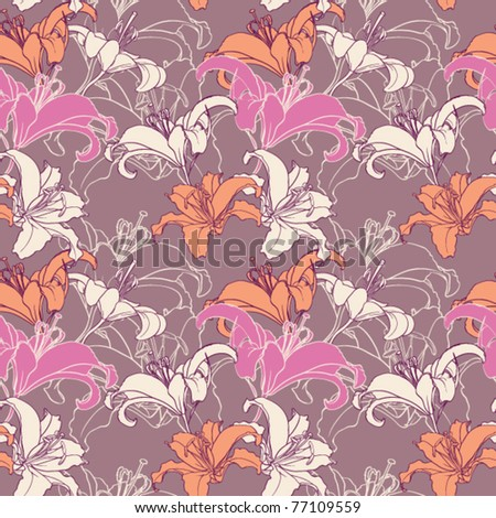 Lilia seamless pattern. Vector Illustration. - stock vector