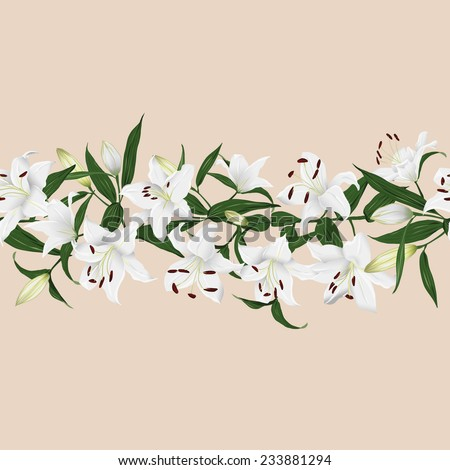 Lilies almond horizontal seamless vector banner - stock vector