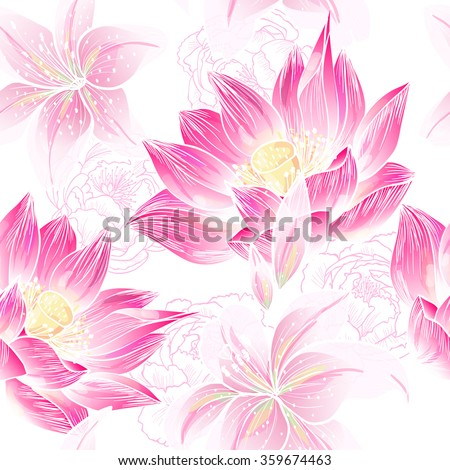 Lilies and lotuses on a white background. Vector seamless pattern