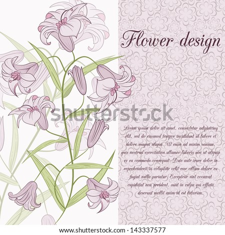 lily design card Vector illustration can be used for website background and greeting cards or cover decoration