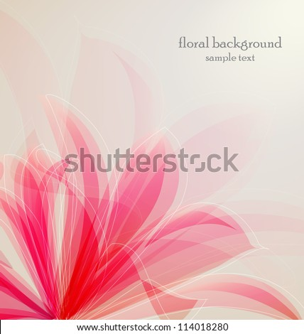 Lily flower abstract vector background, greeting card template - stock vector