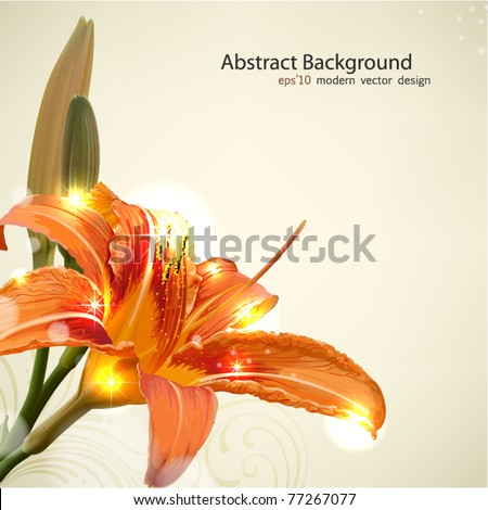 Lily flower abstract vector background, wedding card template - stock vector