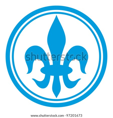lily flower - heraldic symbol fleur de lis (element) - stock vector