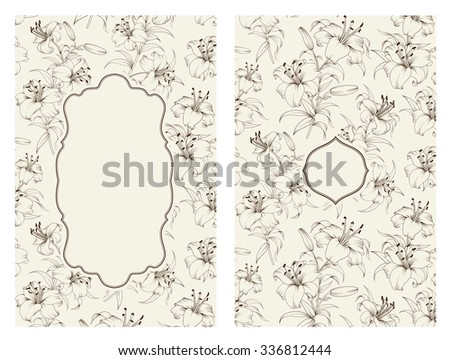 Lily flower pattern isolated on gray. Floral pattern with lilies. Blue lines over gray background. Vector illustration. - stock vector