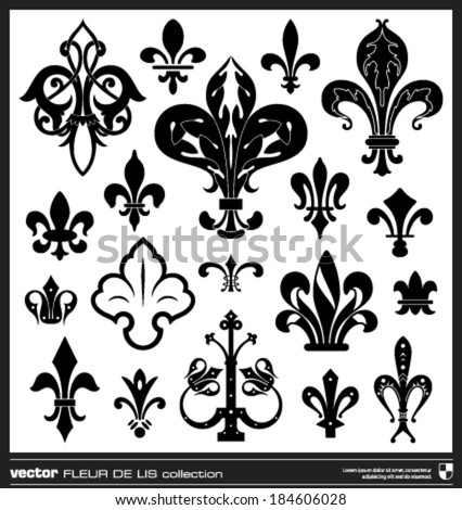 Lily flower vector. Fleur de lis vector collection. Vintage lily flower emblems. - stock vector