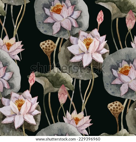 lily, painting, pattern - stock vector