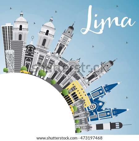 Lima Skyline with Gray Buildings, Blue Sky and Copy Space. Vector Illustration. Business Travel and Tourism Concept with Lima City. Image for Presentation Banner Placard and Web Site.