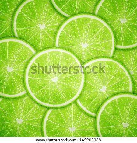 Lime fruit slices background eps10 vector illustration - stock vector