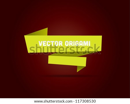 Lime yellow vector origami banner / bubble - stock vector