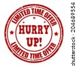 Limited time offer, hurry up grunge rubber stamp on white, vector illustration - stock vector