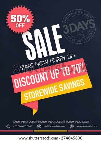 Limited time sale flyer, banner or template with best savings and discount offer. - stock vector