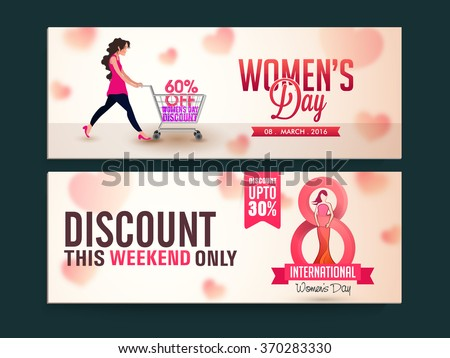 Limited Time Sale website header or banner set with discount offer for Happy Women's Day celebration. - stock vector