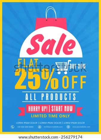 Limited time sale with flat discount on all products flyer, banner or template design for your business. - stock vector