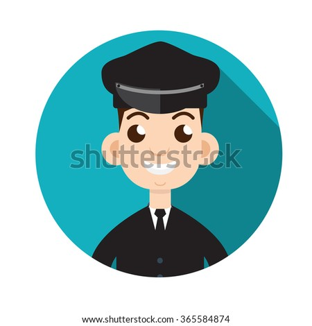Limo driver. Limousine driver icon. Flat style. Vector illustration - stock vector