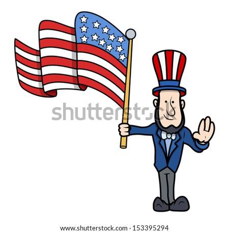Lincoln Floating USA Flag Vector - stock vector
