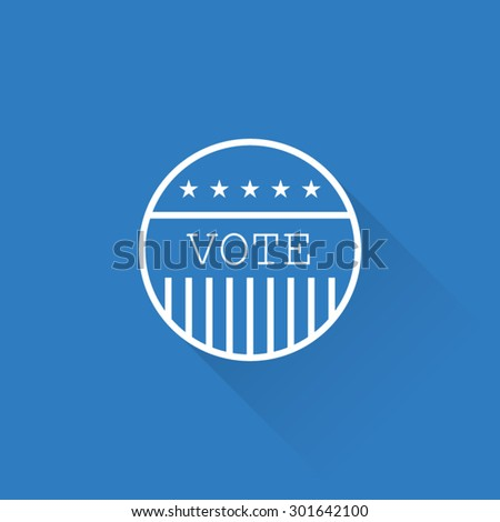 Line America Election Vote Button - stock vector