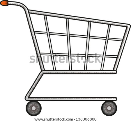 Line and a little colored drawing of a shopping cart. Vector illustration. Isolated object. Can be used as an icon.