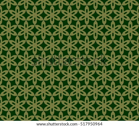 line and shape. seamless flower pattern. vector illustration. gold on green. for design invitation, textile, wallpaper.