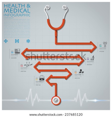 Line Arrow Diagram Stethoscope Health And Medical Infographic Design Template - stock vector