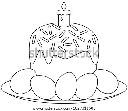 Line Art Black White Traditional Easter Stock Vector 1029011683 ...
