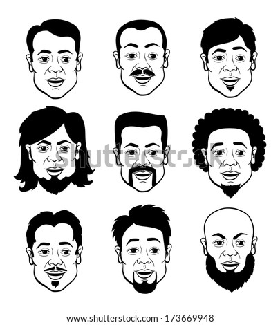 Line Art Cartooning Faces of the Man with Different Hairstyles - Black and White Set of Illustrations - stock vector