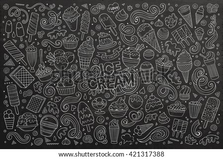 Line art chalkboard vector hand drawn doodle cartoon set of ice cream objects and symbols - stock vector