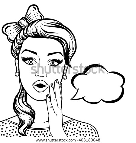 Line art cute shocked woman face with open mouth outline, comic style black and white vector illustration - stock vector