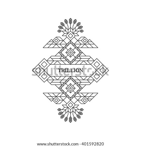 Line Art Design for Invitations, Posters, Badges. Linear Element. Geometric Style. Lineart Vector Illustration. - stock vector