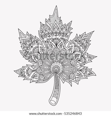 Line Art Design Maple Leaf Adult
