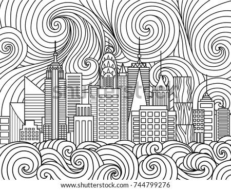 Line Art Design New York City Stock