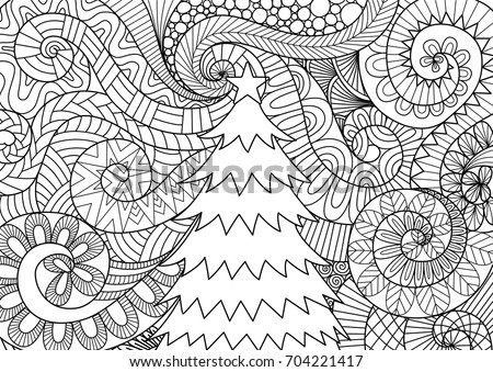 Line Art Design Of Storm Scrolling And Christmas Tree For Print Adult Coloring Book