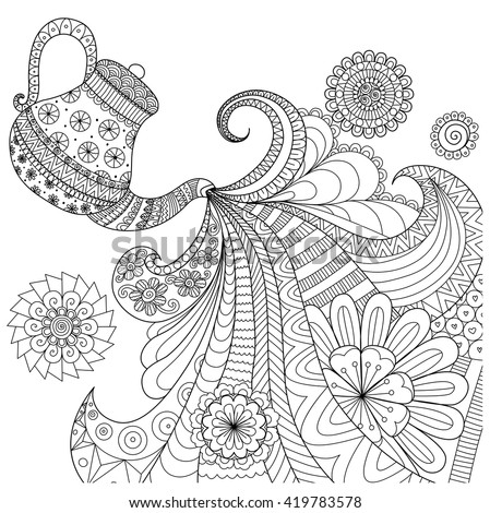 Line art design of teapot pouring tea for coloring book for adult and other decorations - stock vector