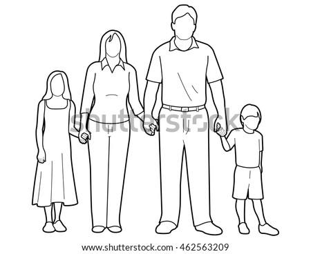 Line Art Drawing Generic Family Holding Stock Vector 462563209 - Shutterstock