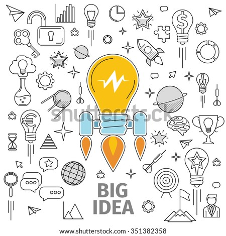 Line art flat concept of big idea. Illustration of a strategy for the development and promotion of the project in marketing and advertising. Promotion of the brand, product or idea, information wave. - stock vector