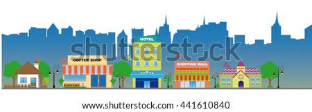 Line art flat icons based on smart city concept or Modern city design with Wireless technology for anywhere. Wireless have used anywhere for internet and communicate. Illustration, in the city.  - stock vector