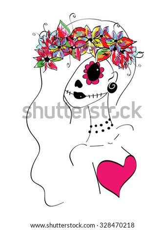 line art girl with creative makeup, sugar skull painted, Day of the Dead concept, Dia de los Muertos - stock vector