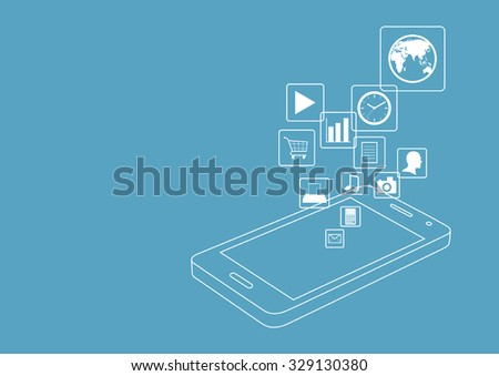 Line art graphic of smart phone with icons - stock vector