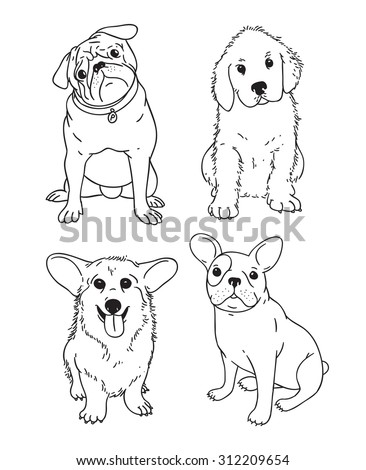 Line art hand drawing vector dogs and puppies on a white background - stock vector