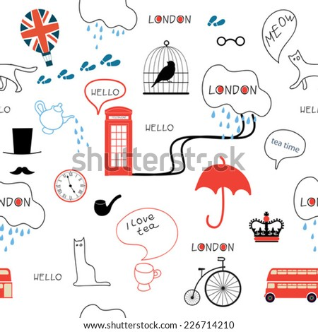 line art hand drawn english pattern on white background - stock vector
